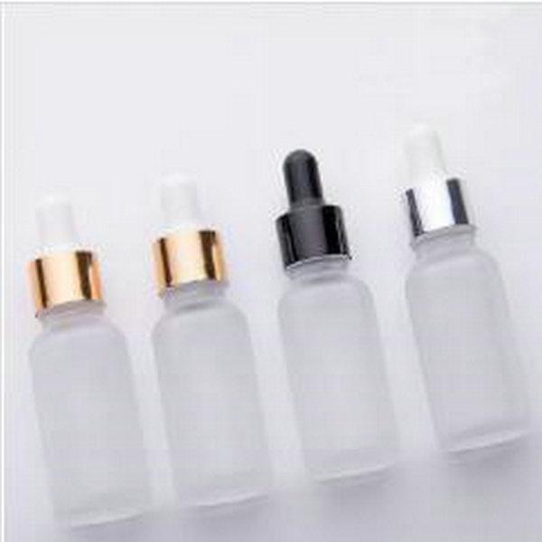 15ML مسح زجاج بلوري زجاجة بالقطارة مستحضرات التجميل 20ML زجاجة الزيت العطري مع الذهب الفضة قبعة سوداء