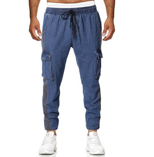 Jeans longues Pantalons Pocket solide Couleur Homme Vêtements droite Sport Fashion Style Drawstring Casual Vêtements Hommes en vrac Designer