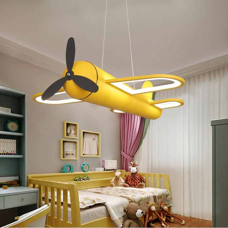 Lighting Facture Airplane Shape Chandelier Cartoon Boy Creative Fighter Hangling Lamp Led Children's Room Bedroom Chandelier