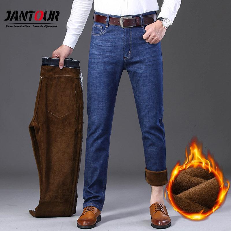 Jantour Winter Thermal Warm Flannel Stretch Jeans Mens Quality Brand Fleece Pants men Straight flocking Trousers jean 40 42 44