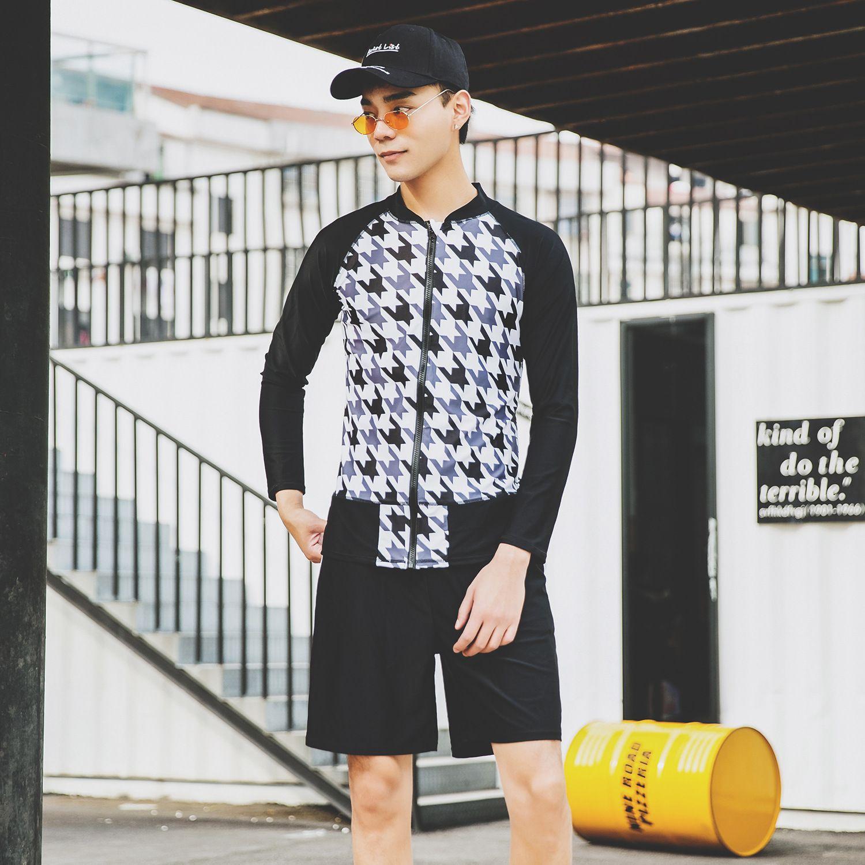verão dos homens de mangas compridas de duas peças terno de natação zipper xadrez praia impressa swimwear calções de banho de sol proteção lazer swimwear