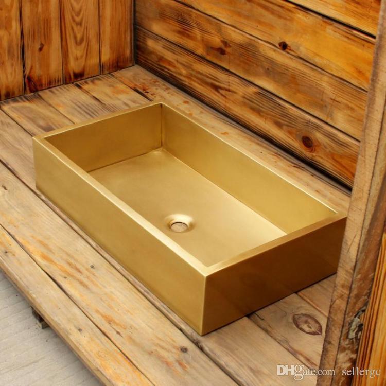 laiton Rectanglar barre de lavabo surface lisse VanitySink évier évier en porcelaine
