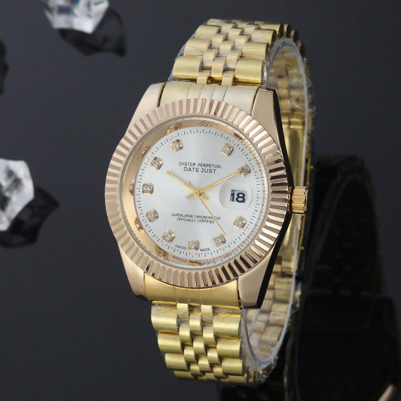 Modèle classique homme femmes diamant montre en acier inoxydable de luxe occasionnel populaire montre-bracelet de quartz montre horloge marquer montre reloj de lujo