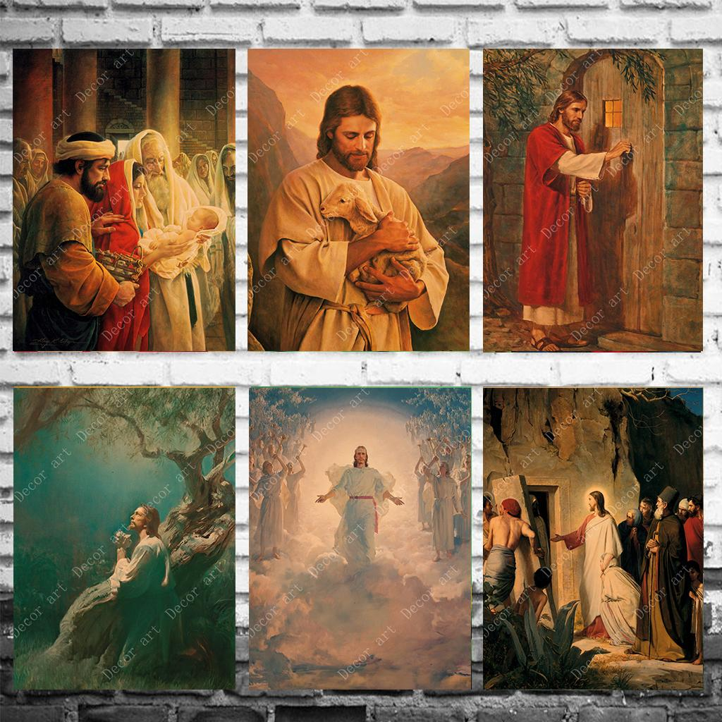 Birth of Jesus Canvas Painting Vintage Wall Pictures Kraft Posters Coated Wall Stickers Home Decoration Gift