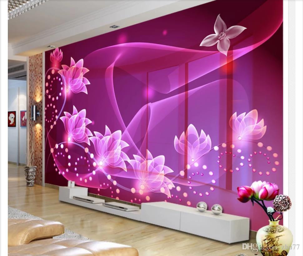 Custom 3D Silk Photo Mural Wallpaper 3D fantasy transparent flowers living room TV background mural decorative wall stickers