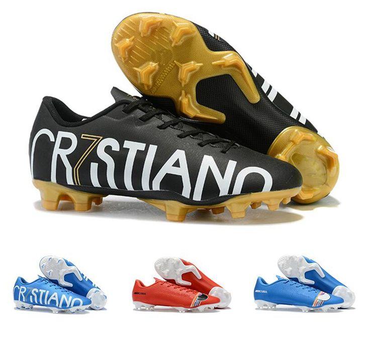 2019 Nouvelles chaussures de foot pour hommes femmes Nike Mercurial Vapors 13 chaussures de football FG CR7 Chaussures Black Gold Ronaldo Cleats