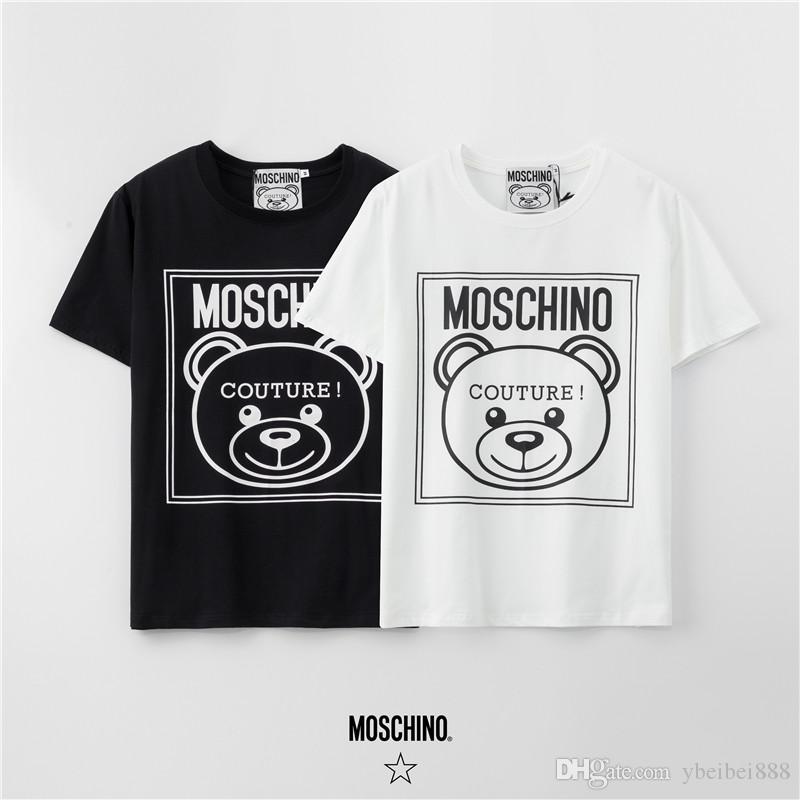 الربيع والصيف الرجال والنساء أزياء جديدة قصيرة الأكمام، 100٪ نسيج القطن الدب الطباعة الحرفية اللون - أسود / عشاق crewneck قميصا أبيض