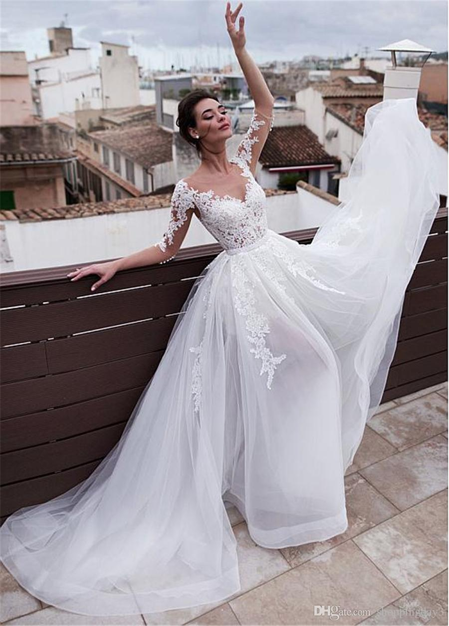 Marvelous Jewel Neckline 2 In 1 Wedding Dresses With Detachable Skirt Lace Appliques 3 4 Sleeves Two Pieces Bridal Gowns Convertible Wedding Dress Custom Wedding Dress From Shoppingday3 30 16 Dhgate Com