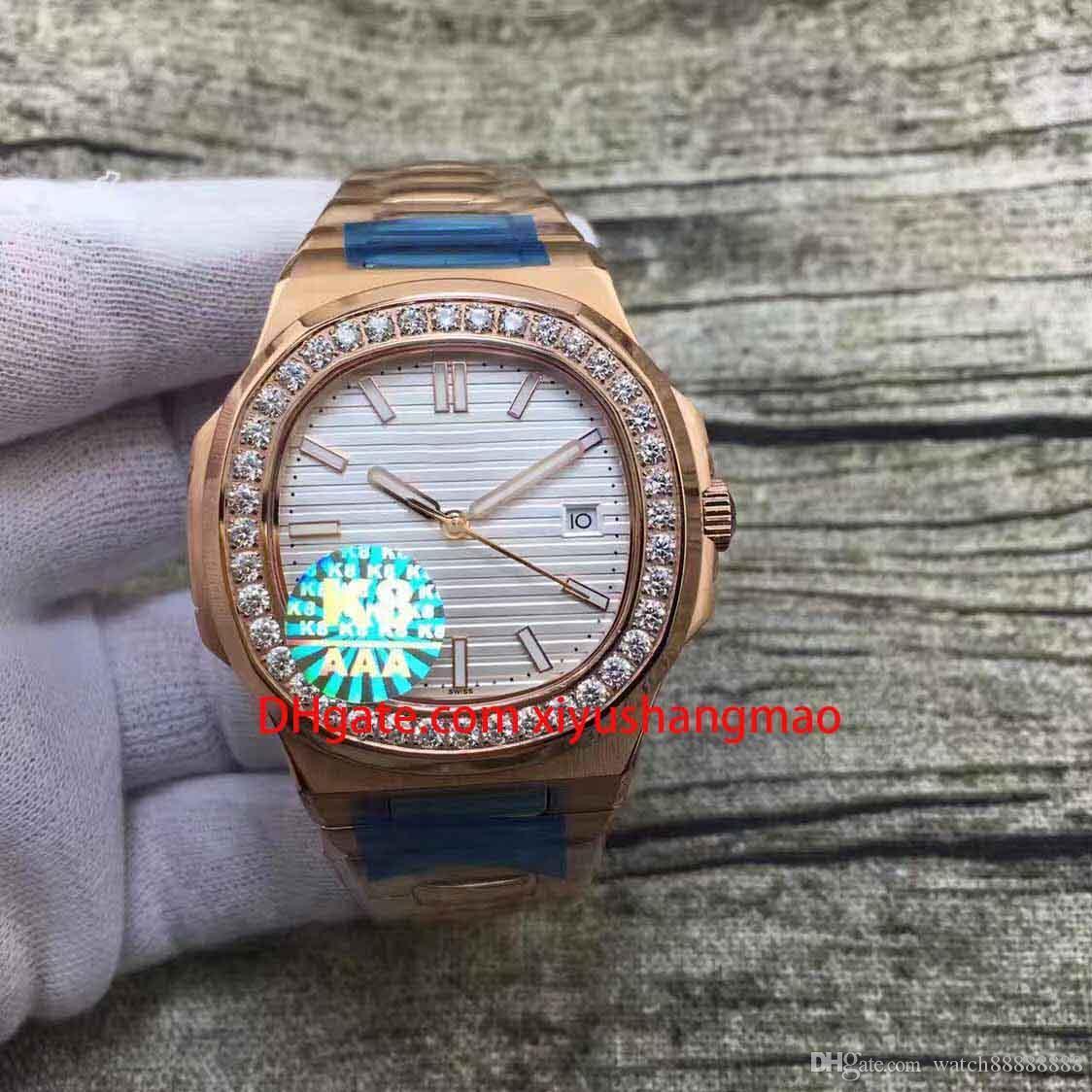 Luxo automática do Designer Assista Men Watch 5713 Mecânica Monte de luxo homens de aço de Rose Strap Bezel Diamante relógio inoxidável
