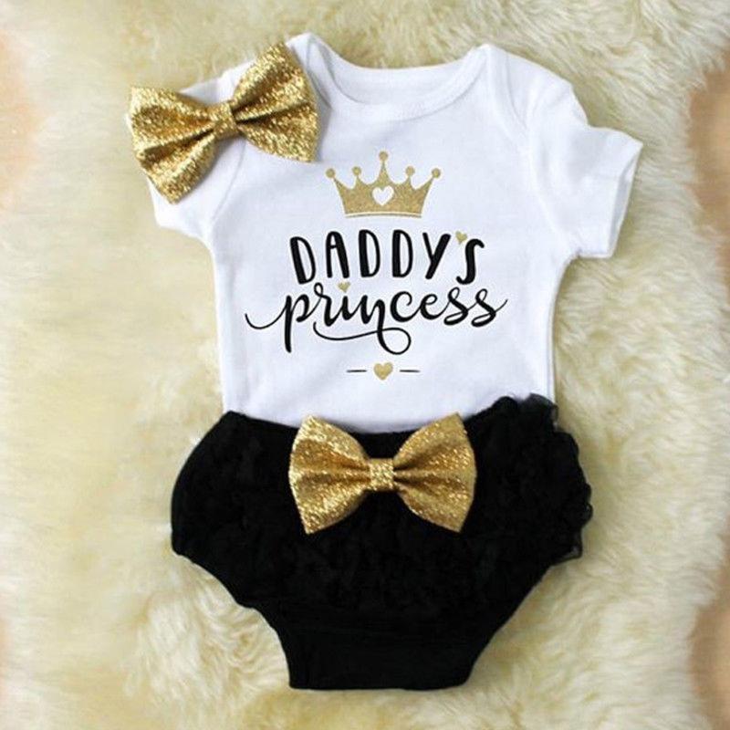 3pcs 귀여운 신생아 아기 소녀 복장 옷 탑스 Romper + Tutu 반바지 바지 신생아 아기 옷 유니섹스 여름 의류