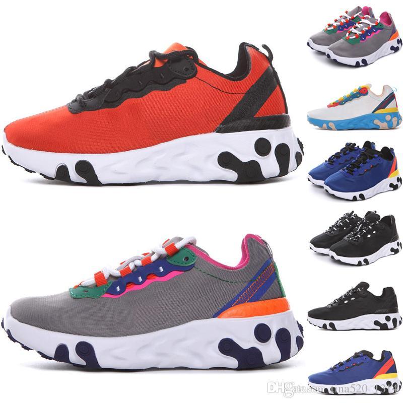 Nike Epic React Element 87 Undercover Men crianças Running Shoes Para Mulheres Designer de Tênis Esportes Dos Homens Sapatos Formadores Vela Luz Osso Real matiz