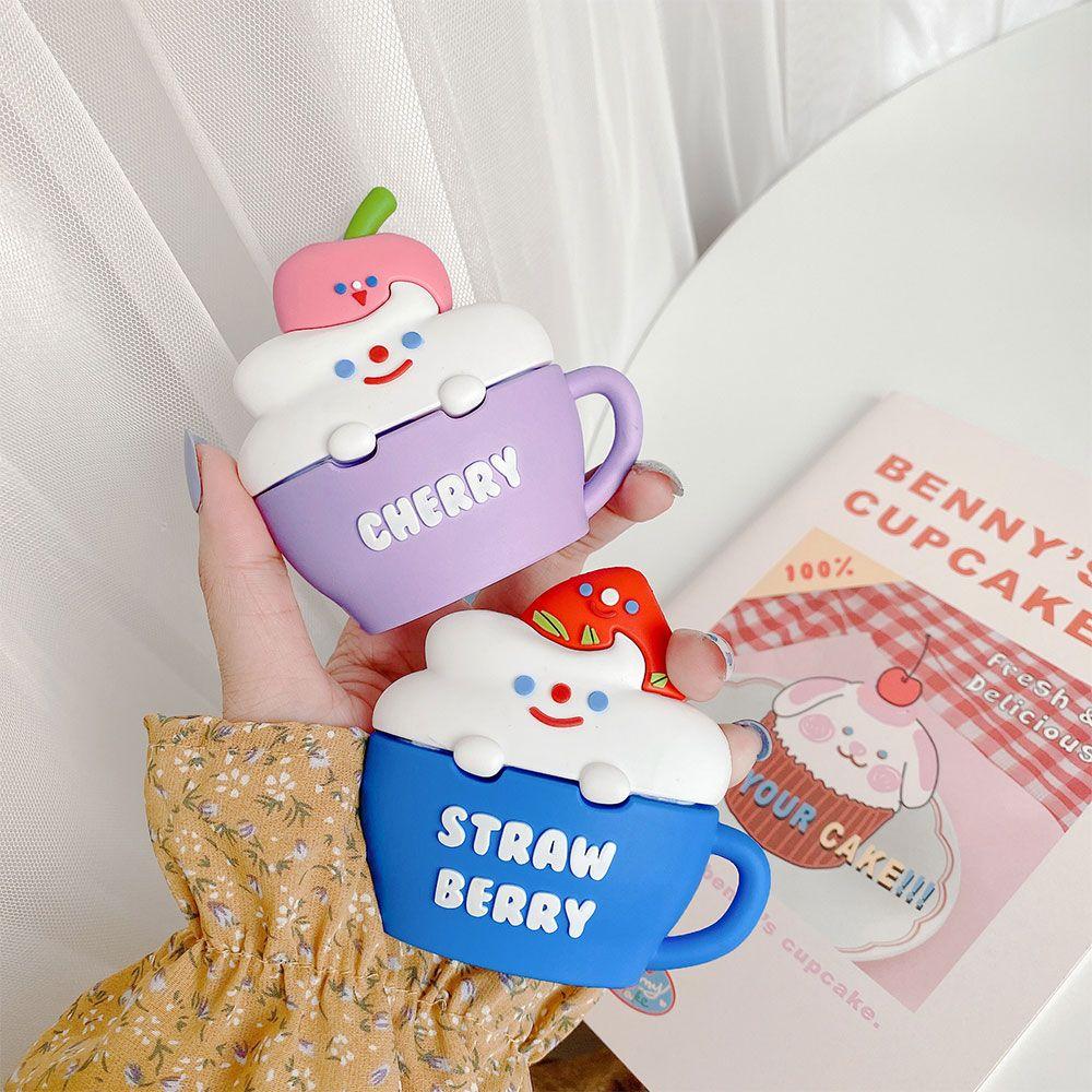 AirPod tasse de cerise fraise cas bouteille SOUPLE cadeau fille étui en silicone casque housse de protection drôle de style avec crochet
