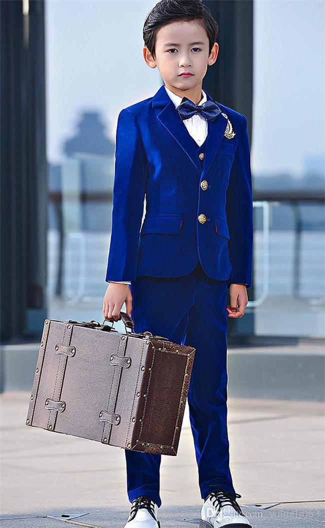 Royal Blue Velvet Kids Suit Children Attire Formal Wear Wedding Boy Birthday Party Business Suit 3 Piece jacket pants vest