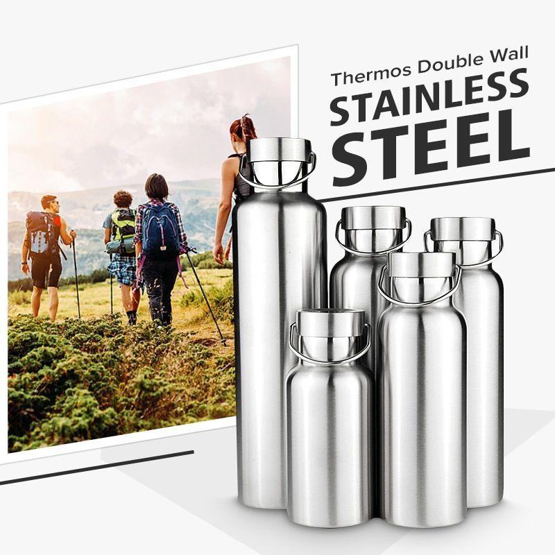 New Stainless Steel Double Wall Vacuum Jug Insulated Water Bottles Travel Coffee Drink Vacuum Flasks 350/500/650/700/1000ml Y200106