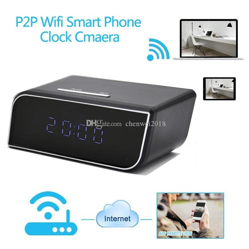 WIFI clock P2P IP Cameras HD 1080P H.264 Alarm Clock MINI DV DVR with IR Night vision Mini Clock baby monitor