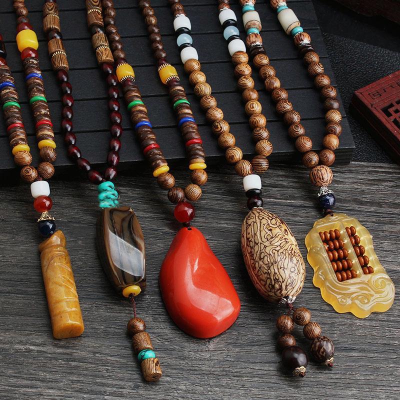 Vintage Ethnic stile cinese buddista di Mala della collana di perline di legno collane Normativa Buddha ciondoli uomini donne collana