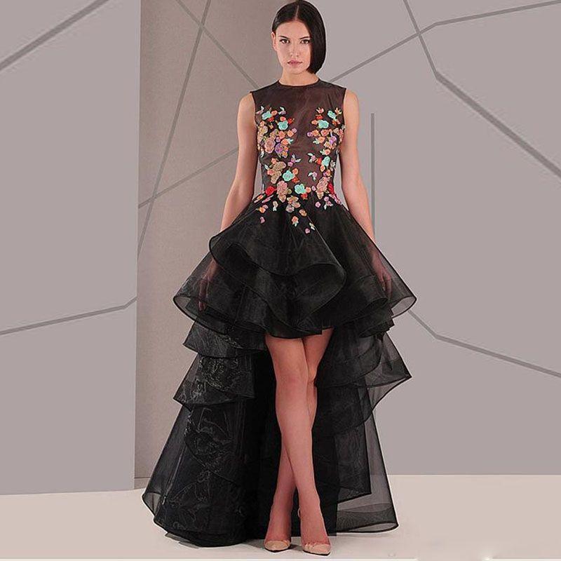 패션 블랙 높은 낮은 댄스 파티 드레스 보석 목 레이스 아플리케 최고 환상 파티 드레스 프릴 계층 오간자 연예인 드레스