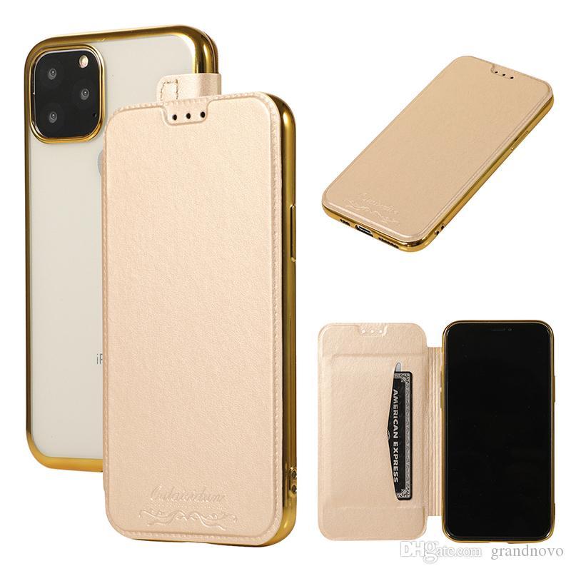 Placcatura copertura di vibrazione del cuoio del raccoglitore TPU corpo con slot per schede per iPhone Pro 11 Max XS XR X 8 7 Plus Samsung Galaxy S10 E S9 Nota 10