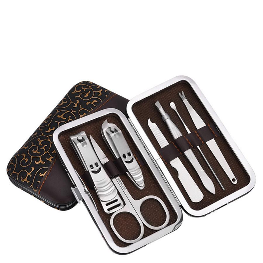 Ferramentas de Cuidados Com as unhas Conjuntos de Manicure Cortador de Unhas Tesoura Do Prego Pinça Manicure Pedicure Set Kit Grooming de Viagem 7 pçs / set RRA1152