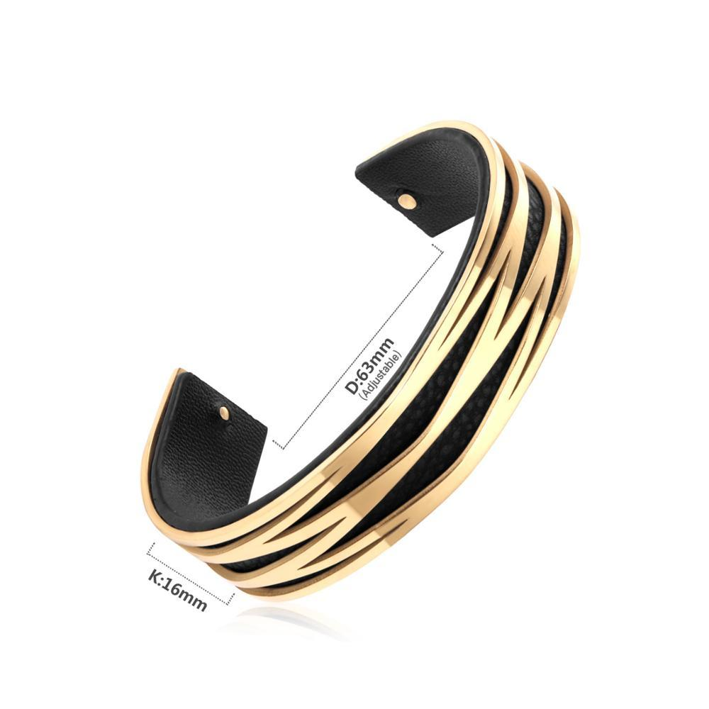 Ofashion Twisted Cable Wire Cuff Bracelet with Gold Ends and Zircon Cross