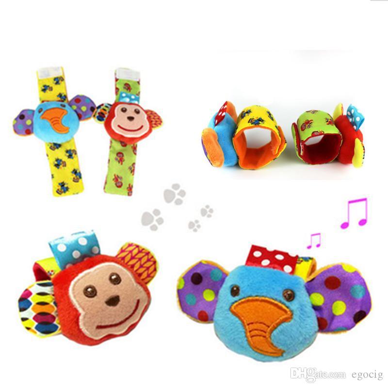 babys toy Wrist rattle & foot finder Baby toys Set Baby Rattle Socks Lamaze Plush Wrist Rattle+Foot baby Socks set Christmas Gift 1 set=4pcs
