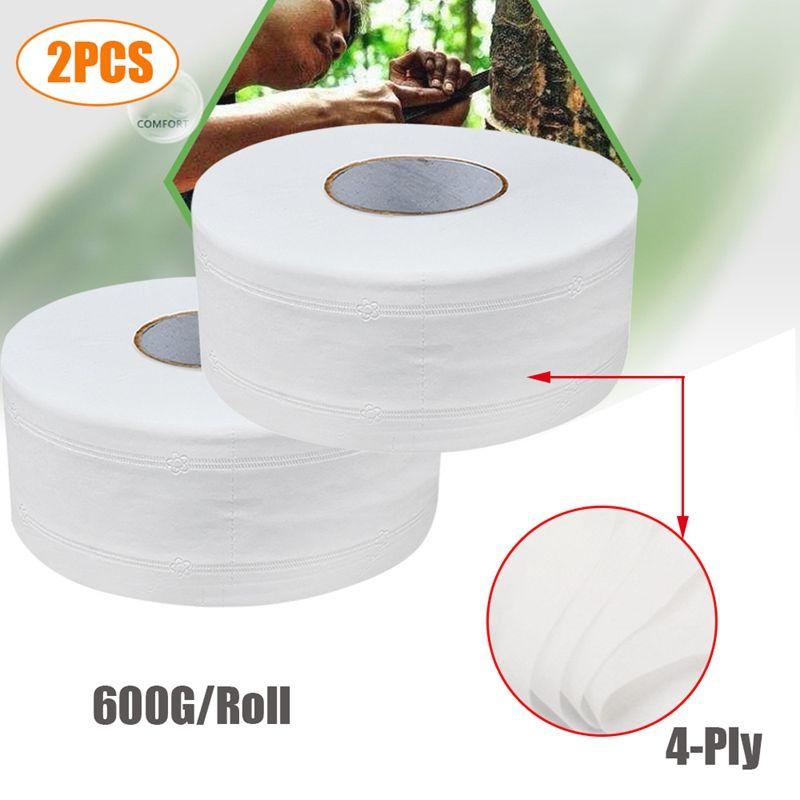 2PCS Натуральных бытовая туалетная бумага, 4 слоя сгущает Ручной туалет Полотенца, Ролл Ткани, Ванна Ткани, Белая
