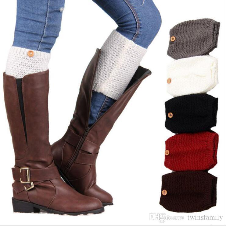 Knitted Wool Leg Warmers Button Short Boot Cover Socks Ankle Cuffs Women Crochet Tube Socks Winter Boot Cuffs Boot Toppers Accessories C7031