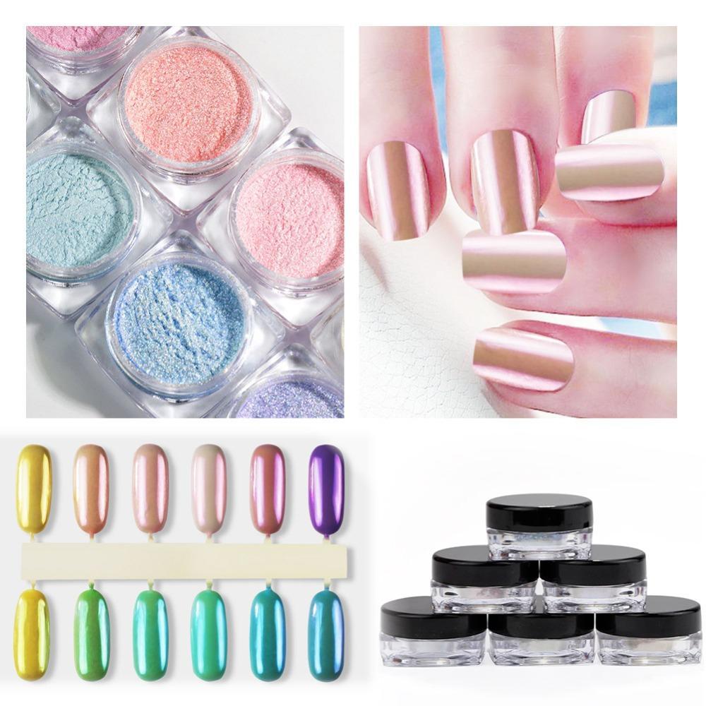 Venta al por mayor 12 unids / lote Nail Glitter Shimmer Powder Pigmento polvo de uñas herramientas de manicura Nail Art Decoraciones Pearl Powder