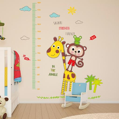 Retail 90*60cm monkey giraffe animal height sticker children's room bedroom living room cartoon tailor-made high wall sticker