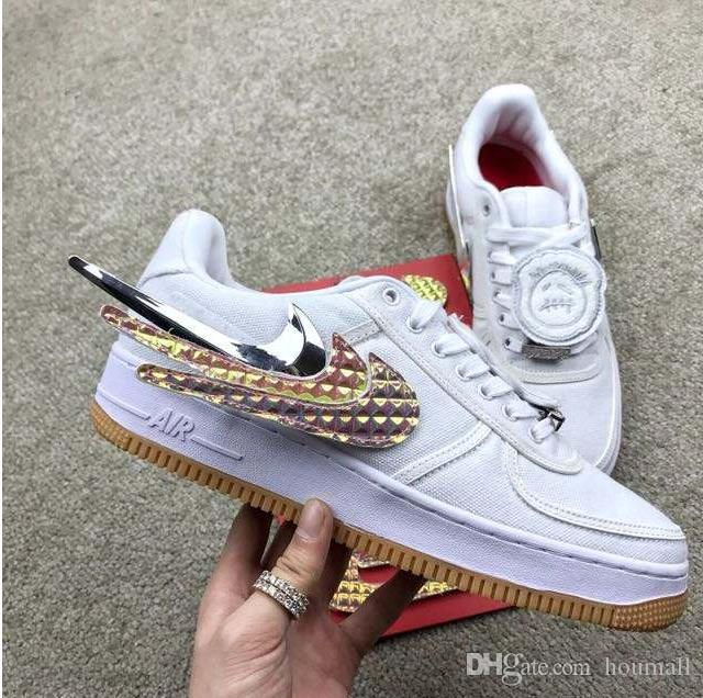 2020 new Travis Scott x Nike Air Force 1 AF1 Low Sail Retro color Off-white canvas shoes Men's and women's fashion Cactus Jack Sport sneakers