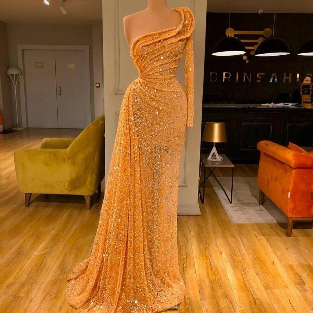 Bling Bling One Shoulder Prom Dresses with Sequins Ruched Side Split 2020 Long Sleeve Evening Gowns Sexy robes de soirée