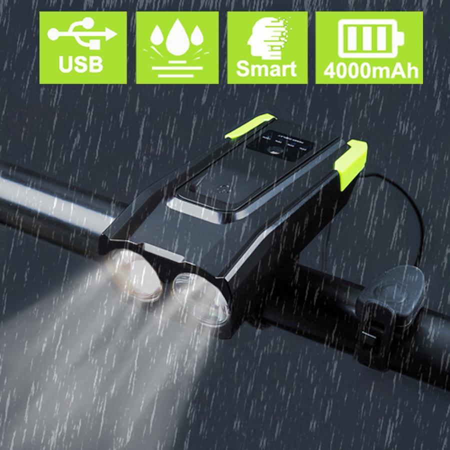 أضواء الدراجة 4000 مللي أمبير الحث دراجة ضوء الأمامي مجموعة usb قابلة للشحن العلوي الذكية مع القرن 800 lumen LED دورة الدورة