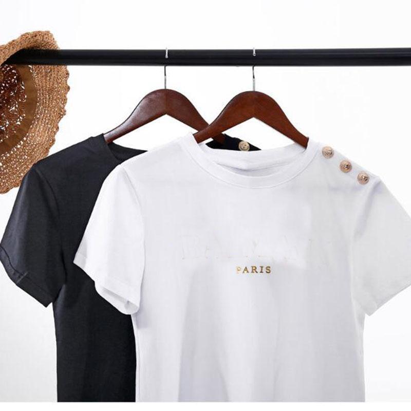 camicia Bronzing stampa Lettera Womens T manica corta donne maglietta Over Size T-shirt di moda estate femmina vestiti dei nuovi