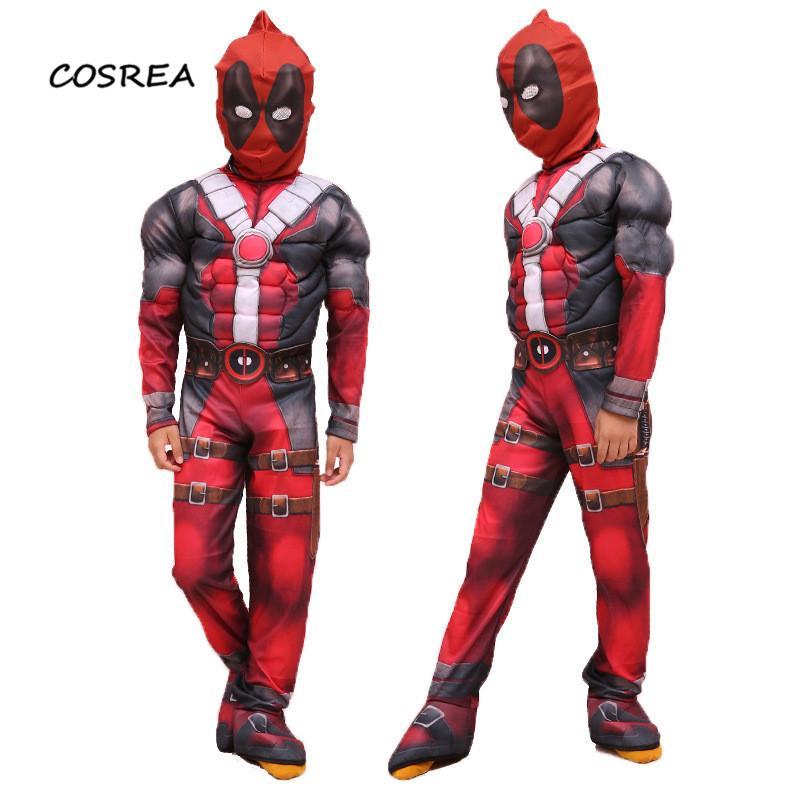 Marvel Movie Deadpool Cosplay Costumes Wade Wilson Children Deluxe Muscle Halloween Carnival Props Suit Zentai Bodysuit Mask