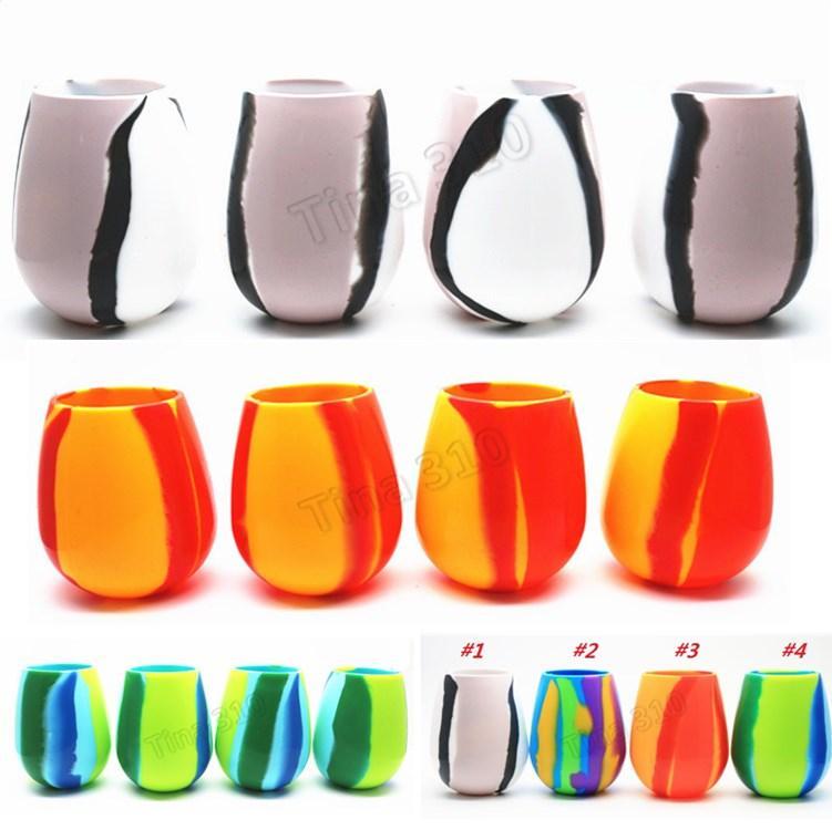 Nuevos 4 colores 12oz taza del silicón del camuflaje Red Wine Glass Copas de cerveza de cristal plegable de silicona Copa Cerveza Recipientes 4892