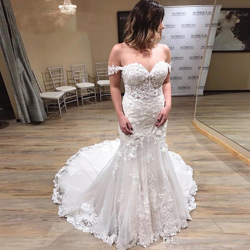 2020 Vintage Mermaid Robes De Mariée Dentelle Applique Dace de l'épaule Train Boho Tulle Robe de mariée Bridal Robes de mariée Plus Taille
