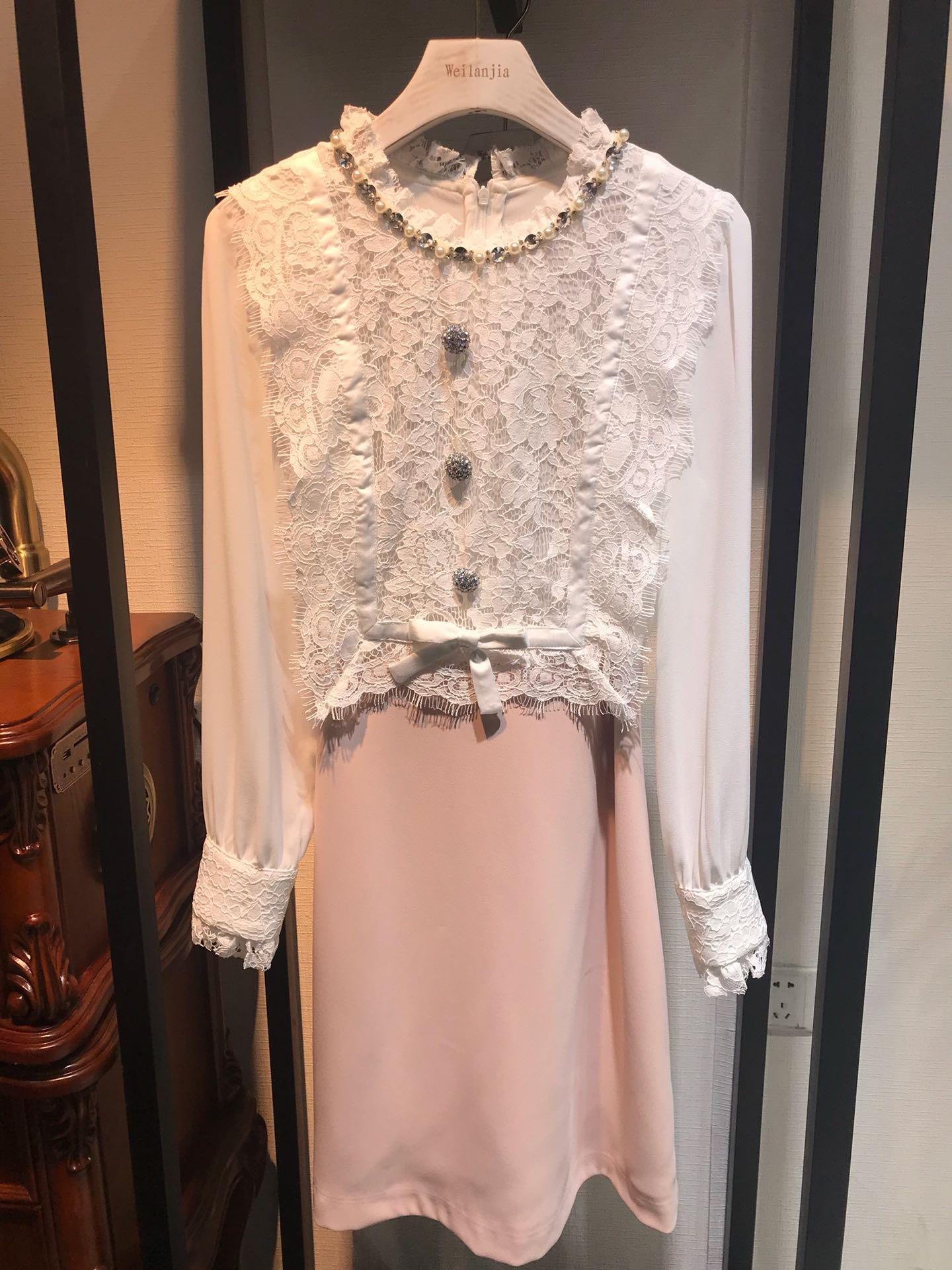 Designer 2020 Black/Pink/Yellow Solid Print Women's Dress Milan Runway Crew Neck Long Sleeves Embroidery Beads Holiday Long Dress 031507