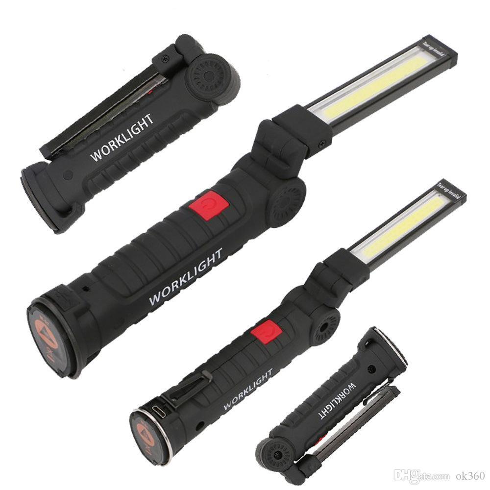 ilumina dobrar LED COB Luz de trabalho portátil Spotlight recarregável Magnetic Lanterna Tocha Lanterna de Emergência Repair lâmpada de Inspeção