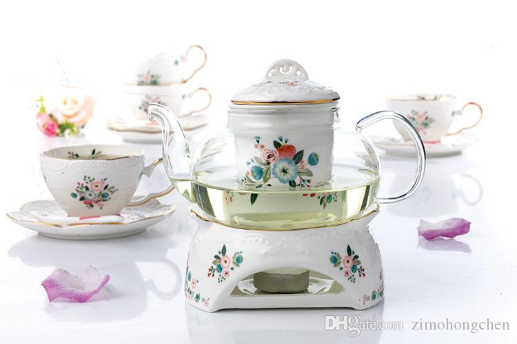 Juego de té de la tarde europea té resistente al calor Tetera de cristal del hogar Cocinar Alivio del té taza de té de cerámica Burbujas de frutas