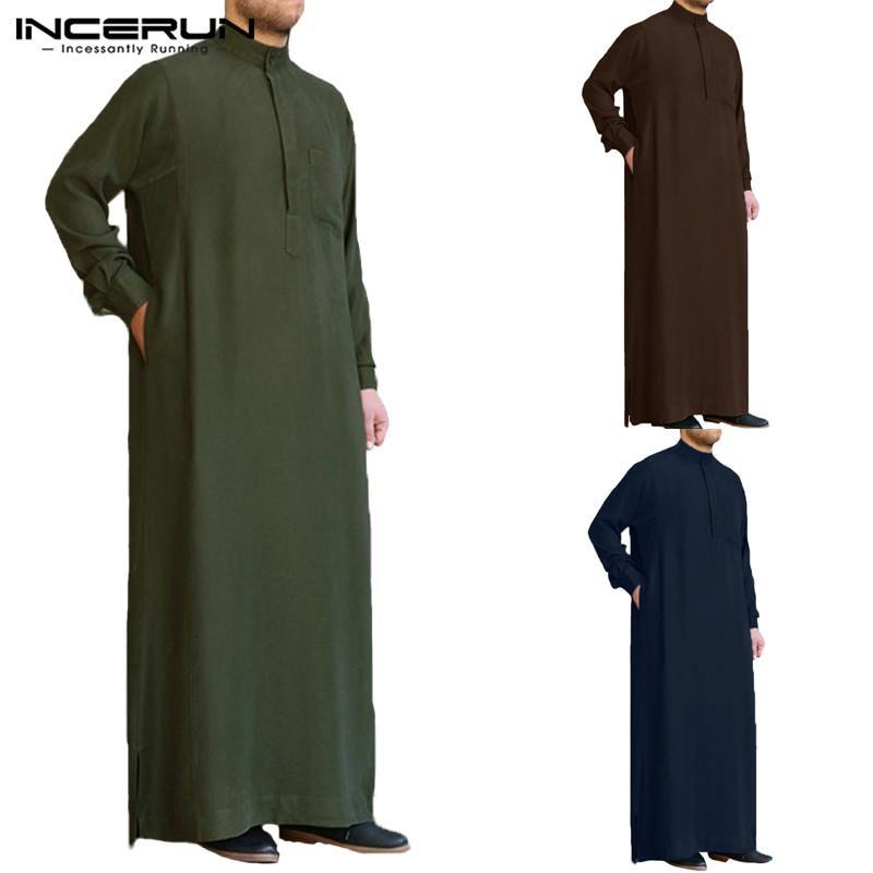 Roupas étnicas Incerun 2021 Homens Islâmicos Árabe Arabe Kaftan Manga Longa Solta Vintage Thobe Dubai Saudi Roupas Roupas S-5XL