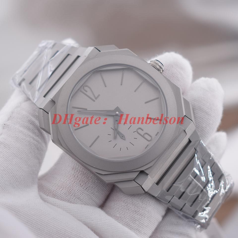 mens di alta qualità orologi 102.713 titanio quadrante grigio zaffiro superficie automatici Gents movimento reloj de Lujo orologi meccanici