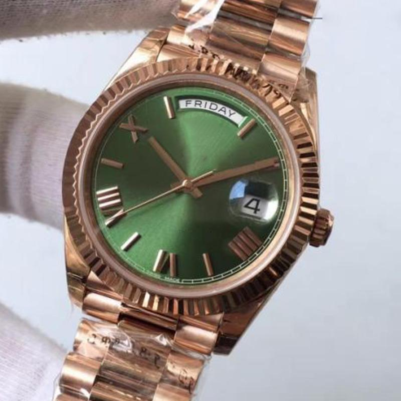 고품질 남성 럭셔리 남자 로즈 골드 데이 날짜 그린 다이얼 로마 숫자 제네바 시계 방수 패션 실버 시계