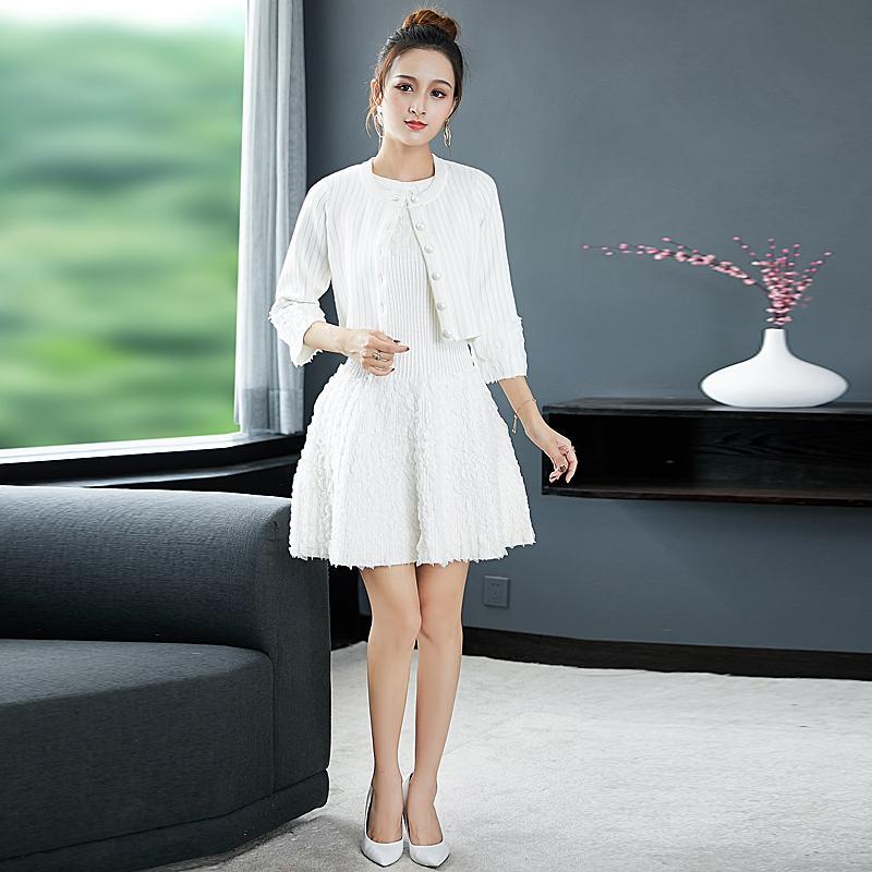Milan Runway Designer New Fashion High Quality Autumn Party White Sweater Jacket Vest Dress Vintage Elegant Chic Women'S Sets