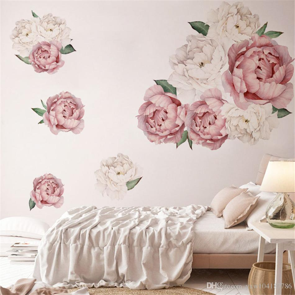 Large Peony Flowers Wall Sticker Vinyl Self-adhesive Flora Wall Art Watercolor for Living Room Bedroom Home Decor