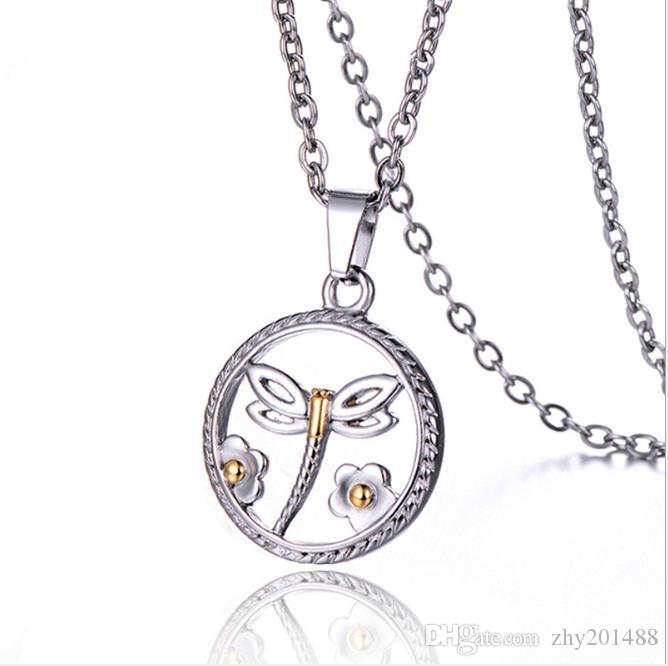 Japanese and Korean Stainless Steel Jewelry Titanium Steel Simple Hollow-out Hanging Female Necklace