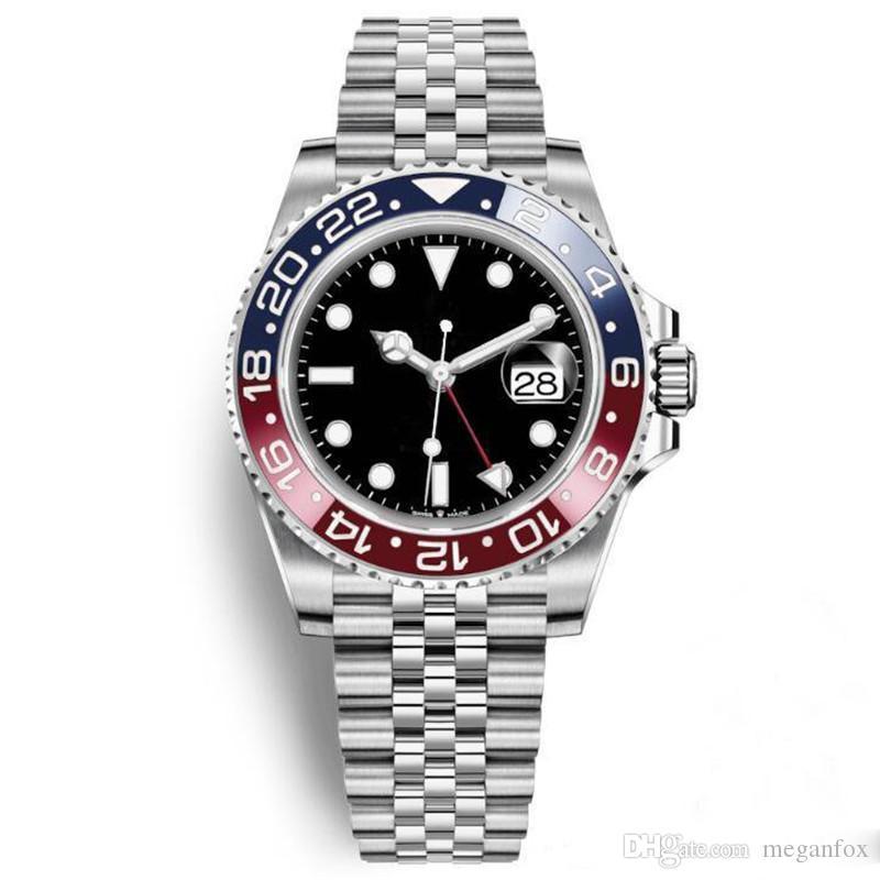 lüks erkek saatler Automatische Mechanische Uhren GMT Edelstahl Blau Rot Keramik Saphirglas 40mm Uhren Armbanduhren
