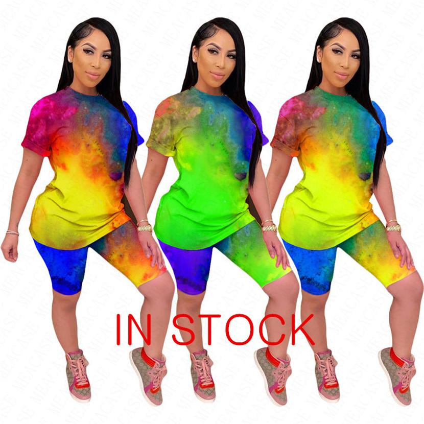 New Design Letras Impresso Mulheres Treino Shorts T-shirt do terno Tops + Shorts 2piece Define roupas de verão Patchwork Sportswear VENDA NK62916