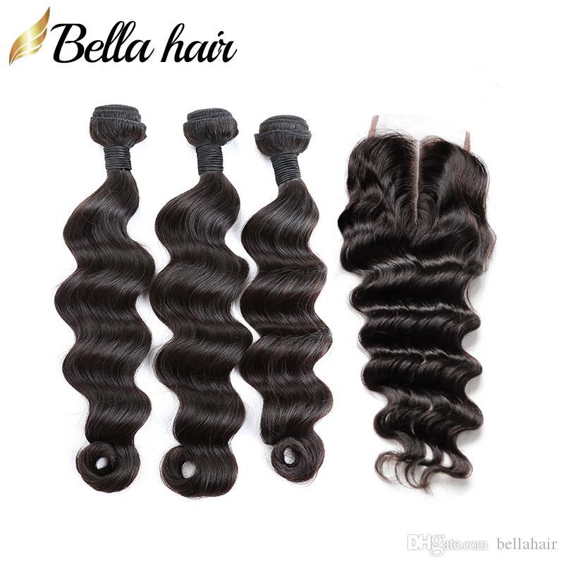 Bella Capelli 100% Non trasformati Pacchetti vergini umani non trasformati con chiusura 4x4 Allentati capelli brasiliani profondi 3 Bundles e chiusura superiore 4pcs / lot