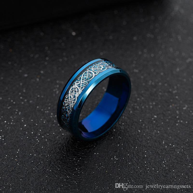 Beichong acero inoxidable 316L de oro del dragón del vintage para hombre Anillo de joyería para el anillo de boda banda masculina Hombres señor para los amantes de 3 colores