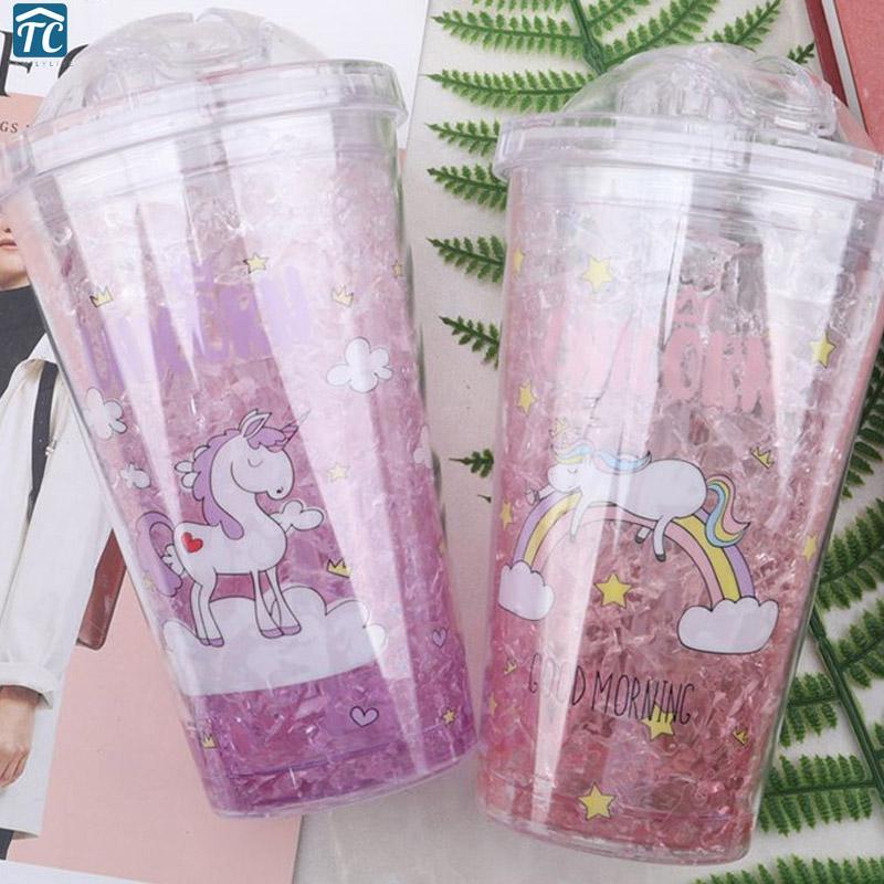 Yaz su şişesi 450 ml basit plastik hasır moda çift kırık buz Sızdırmaz Drinkware sevimli Unicorn Açık Taşınabilir